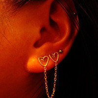 Double Piercing Double Heart Earring - 14kt Gold Fill