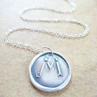 Personalized wax seal necklace pendant custom made with recycled fine silver by Dream of a Dream