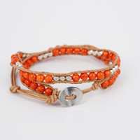 Orange Agate Round Beads and Faced Silver Tone Alloy Beads Double Wrap Bracelet : OrHere