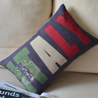 Italy Print Decorative Pillow B [104] : Cozyhere