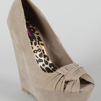 Dollhouse Envious Knotted Peep Toe Wedge