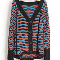 Striped V Neck Bat Sleeve Purple Sweater$44.00