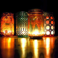 Aqua Mason Jar Lantern with Moroccan Styled Copper Detailing