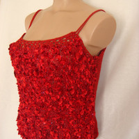 Hand knitted gorgeous low back flame red blouse for spring&summer