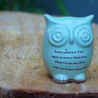 Dr Seuss quote on pistachio green owl handmade by claylicious