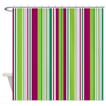Green Stripes Shower Curtain> Seamless Stripes (Parallel Lines)> Strawberry and Hearts