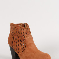Perforated Pattern Round Toe Ankle Bootie