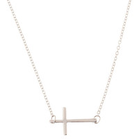 Silver Sideways Cross