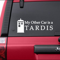 "My Other Car is a Tardis Vinyl Decal Sticker 10"" x 4"""