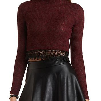 Lace Trim Mock Neck Crop Top by Charlotte Russe