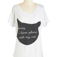 ModCloth Cats Mid-length Short Sleeves Caturday Night Tee