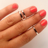 3 Above the Knuckle Black Strips Silver Rings - set of 3 stackable siler rings  Above the Knuckle Rings  set of 3