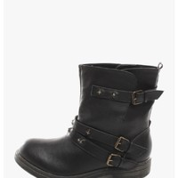 Black Biker Babe Buckle Boots | $12.50 | Cheap Trendy Boots Chic Discount Fashion for Women | ModDea