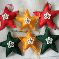 Christmas Star Ornaments - Felt Set of 6