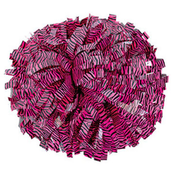 In Stock Black & Hot Pink Zebra Show Pom with Baton Handle