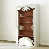 Vintage Cutout Bookcase in White and Matte Red - PoshLiving