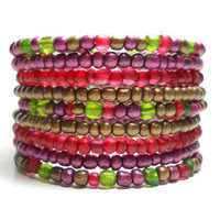Memory Wire Bracelet Cranberry and Green Beaded Wrap Bracelet