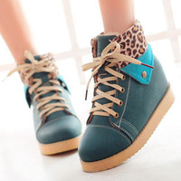 YESSTYLE: Grace Candy- Leopard Print Trim Lace-Up Boots - Free International Shipping on orders over $150