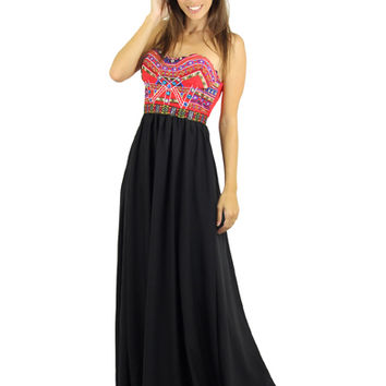 Red And Black Maxi Dress With Embroidered Top