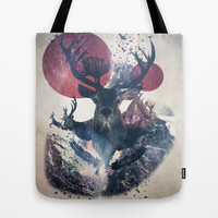 Deer Design Tote Bag by Flamenco72