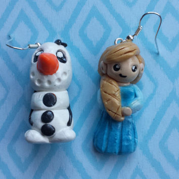 Frozen,Elsa,Olaf,Earring,Jewelry,Let it go, Clay,Winter,Christmas,Disney
