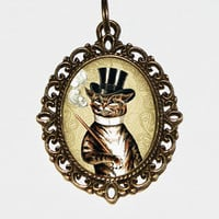Cigar Cat Necklace, Cat Jewelry, Smoking Cat, Gentleman Cat,Tophat, Cigar Jewelry, Oval Pendant