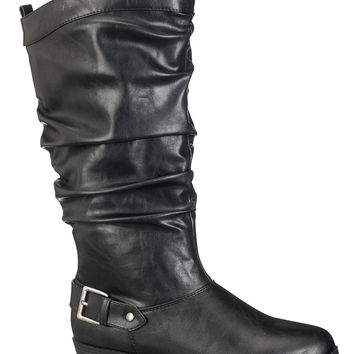black valerie slouch boot with buckle