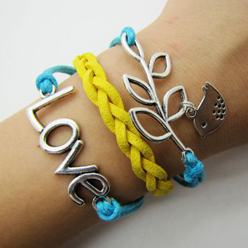 silvery branch LOVE bracelet women multicolor rope bracelet women jewelry bangle  1290A