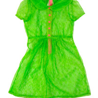 Neon Green Lace Babydoll Dress