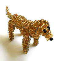 Yellow Lab Beaded Dog Sculpture