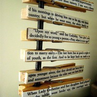 Pride and Prejudice text clothespins set of 6 by Brookish on Etsy
