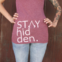 "Red ""Stay Hidden"" women's V-neck t-shirt"