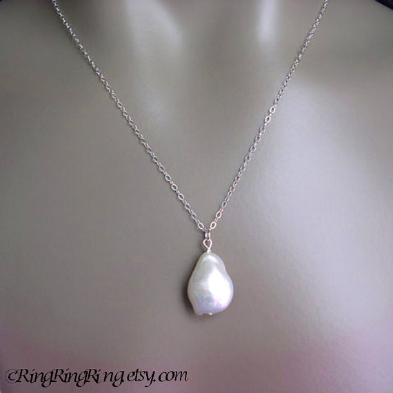 Extra large Baroque White Coin Genuine Pearl on 925 Sterling silver necklace.