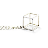 Elaine B Jewelry Cube Cage Necklace
