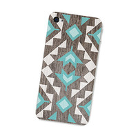 Geometric Wood Iphone Skin 4S: Gadget Decal Iphone 4 Skin - Cell Phone Southwest Triangle Tribal in Turquoise Brown and White Boho For Him