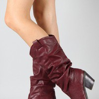 Qupid Muse-01 Western Cowboy Slouchy Knee High Boot