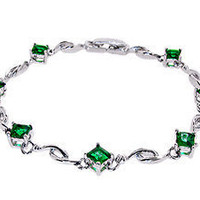Princess Cut Green Emerald White Gold Plated Tennis Bracelet - Emerald