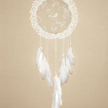 Lace dream catcher, cream, white, lace dreamcatcher, silk doily, wall hanging, long, beads, bedroom, home decor, romantic