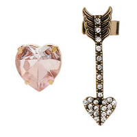 BEADED HEART AND ARROW MISMATCH STUD PINK PINK