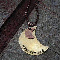 Moonstruck Celestial Necklace, Romantic Moon, Brass and Oxidized Copper Pendant