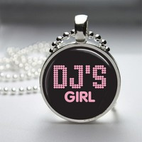 DJ's Girl Glass Tile Round Bezel Pendant Necklace