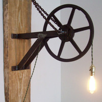 Large Pulley Light Wall Sconce