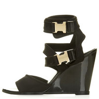 WOW Clip Buckle Wedges - Black