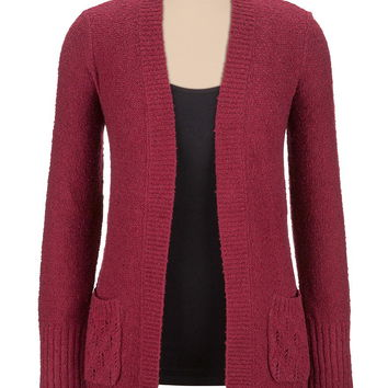 open stitch back cardigan with lurex