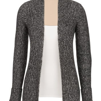 Marled cable stitch open front cardigan