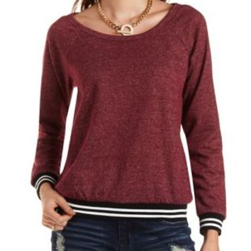Marled Sporty-Striped Sweatshirt by Charlotte Russe - Oxblood