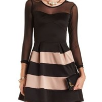 Mesh Yoke Striped Skater Dress by Charlotte Russe - Black Combo