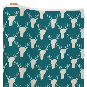 Allyson Johnson Teal Deer Head Pattern Fabric By The Yard