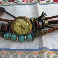 Women Leather Watch - Genuine Leather Wrap Bracelet With A Lovely Classic Pattern FREE SHIPPING