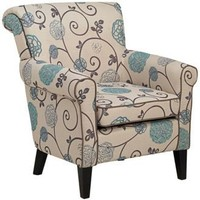 Briar Blue and Taupe Floral Arm Chair | LampsPlus.com